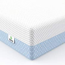 Dourxi Crib Mattress, Dual Sided Comfort Memory Foam Toddler Bed Mattress, Triple-Layer Breathable Premium Baby Mattress for Infant and Toddler w/Removable Outer Cover - White&Blue