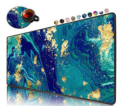 Extended Gaming Mouse Pad and Coaster, Large Non-Slip Rubber Base Mousepad with Stitched Edges, Waterproof Mouse Mat Desk Pad for Work, Game, Office, Home -Blue Marble Cute Mat Gold Green