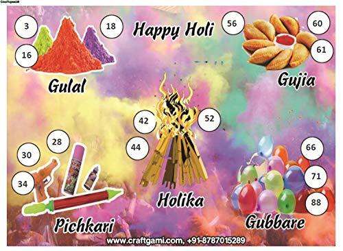 Craftgami - Holi Theme Tambola Tickets - Housie Tickets (24 Tickets)