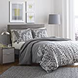Ciudad escena ramas gris algodón juego de funda de edredón, doble, gris