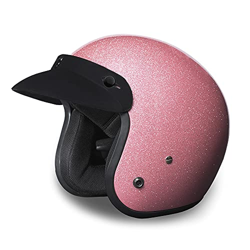 Daytona Helmets 3/4 Shell Open Face Motorcycle Helmet – DOT Approved [Pink Metal Flake] [M]