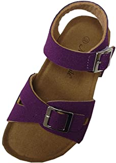 e129e5d8be53 AGOWOO Kids Toddler Girls Boys Soft Wood Cork Beach Sandals