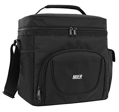 MIER Large Insulated Lunch Bag Picnic Soft Cooler Bag for Men, Women, Adults, Leakproof Cooler, 24 Can, Black