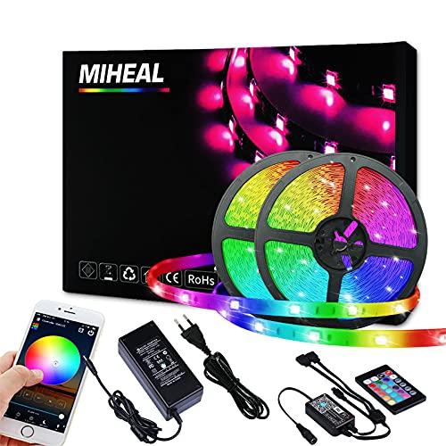 Ubanner Kit cintura luminosa a LED RGB 24V non impermeabile 20M, controller di connessione APP mobile WLAN, modalità musica, connessione di supporto con Alexa, incluso alimentatore 24V