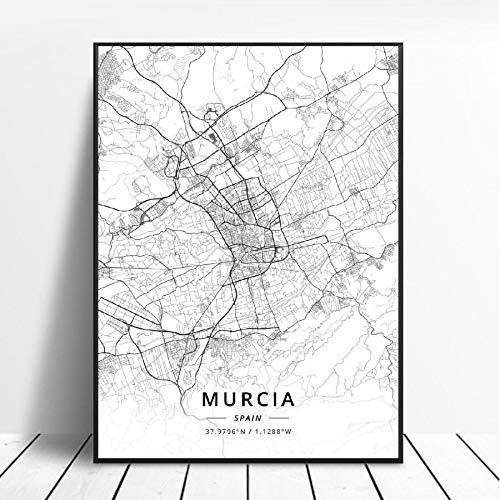 NOVELOVE Mapa de la Ciudad de Murcia España Cartel HD Impresiones Arte de la Pared Imágenes Lienzo Pintura Bar Mural Decoración del hogar sin Marco 42 * 60 cm