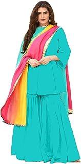 Monika Silk Mill Women's Rama Color Cotton Semi Stitched Sahara Suit with Dupatta
