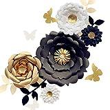 Fonder Mols 3D Paper Flower Decorations(Set of 13, White Black Gold), Giant Paper Flowers for Wedding Backdrop, Graduation Party, Bridal Shower, Halloween Centerpieces, Nursery Wall Decor