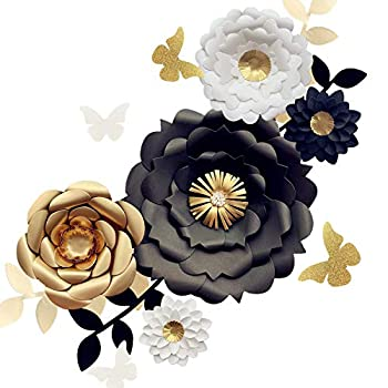 Fonder Mols 3D Paper Flower Decorations Set of 13 White Black Gold  Giant Paper Flowers for Wedding Backdrop Graduation Party Bridal Shower Wedding Centerpieces Nursery Wall Decor