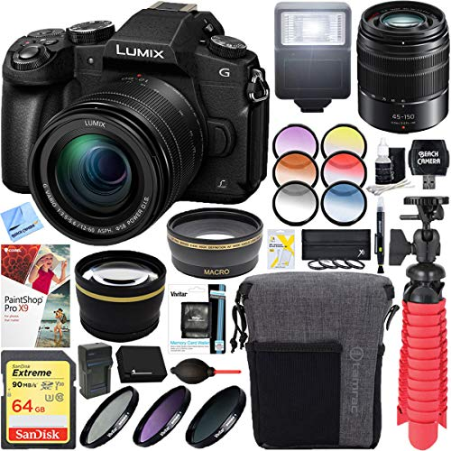 Panasonic LUMIX G85 4K Mirrorless Interchangeable Lens Camera Kit with 12-60mm Lens Bundle with LUMIX G Vario 45-200mm, F4.0-5.6 II Mirrorless Lens, 64GB Memory Card and Accessories (19 Items)