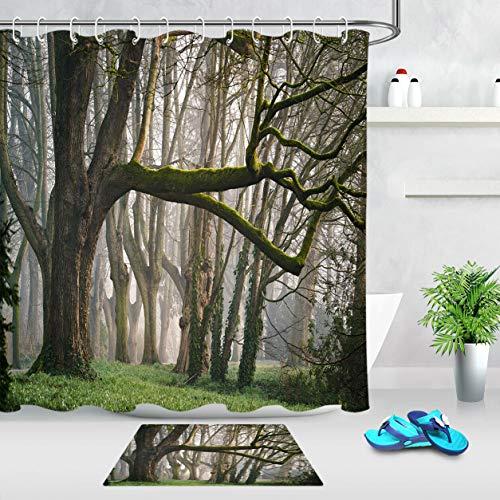 /N Baño Impermeable Cortina de Ducha Colchoneta Selva Tropical Bosque brumoso Musgo
