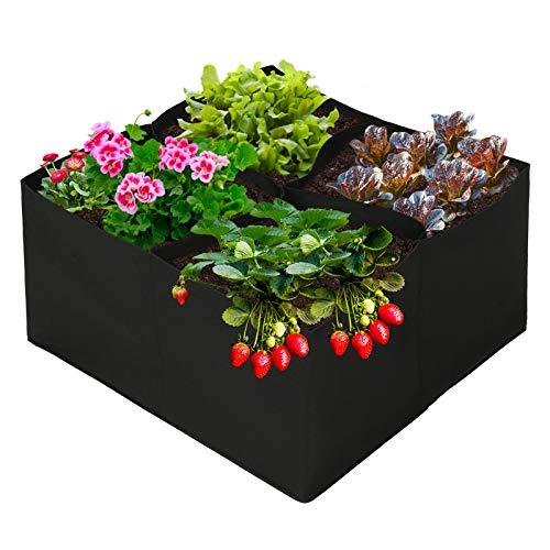 YHNJI Hochbeet, 4 geteilte Gitter, Pflanzsack, 6 x 6 x 3 m, Stoff, Hochbeet, Belüftung, Stoff, Übertopf für Outdoor-Pflanzen, Gemüse, Blume