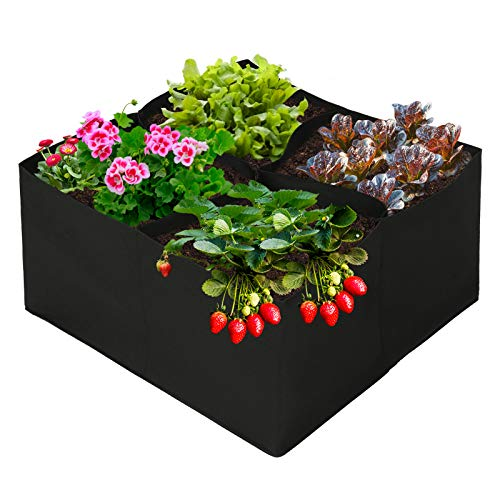 23.5 x 23.5 x 12 Inch Raised Garden Bed with Grow Grids, Durable Fabric Raised Plant Bed Breathable Planting Container for Plants, Flowers, Vegetables