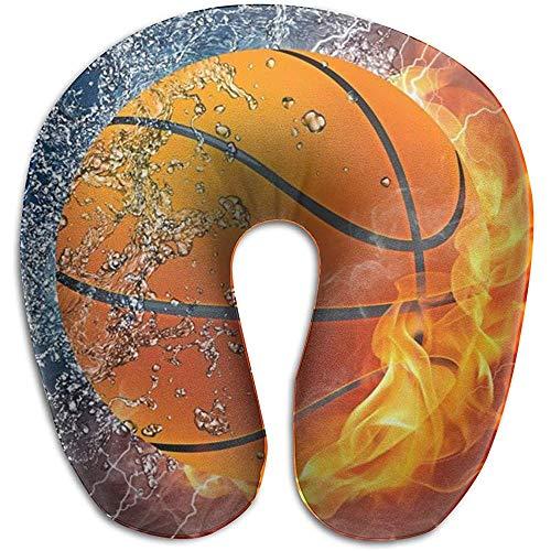 Warm-Breeze Basketball Flames und Waterdrops U-Form Kissen für Reisen, Nackenmassage Memory Foam Nackenstütze