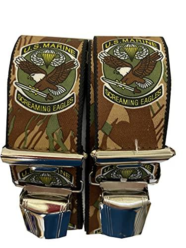 Generisch Bretelles US Marine – Marines – Screaming Eagles – Aigle 35 mm de large en forme de H avec 4 clips extra solides de www.vienna-fashion.at Austria (bretelles marron)