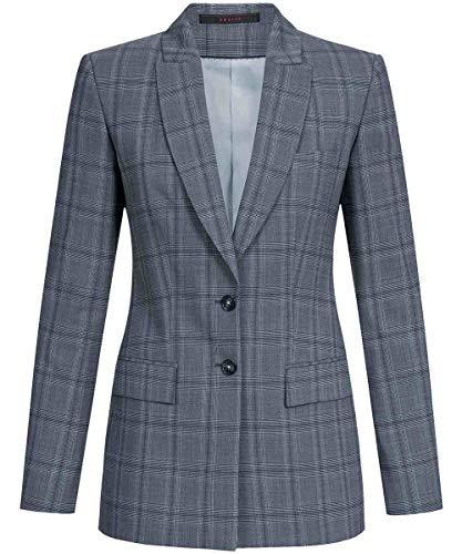 GREIFF Damen-Langblazer Corporate WEAR 1423 Premium Regular Fit - Glencheck Grau/Blau - Gr. 48