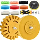 YIPLED 4 Inch 13 Pcs Eraser Wheel Sticker Remover Kit, Car Decal Removal Tool with Wool Buffing Pads, Sponge Polishing Pads and Plastic Razor Blade to remove Pinstripe, Vinyl Decals and Graphics