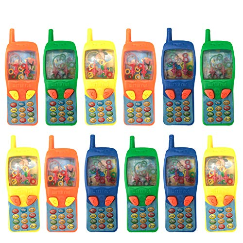 Playko 4 Inch Cellphone Water Game – Pack of 12 Cell Phone Ring Games – Handheld Water Game for Kids – Fish Game Toys – Fun Handheld Games – Birthday Party Favor Toy Phones for Boys, Girls, Toddlers