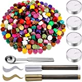 300 Pieces Mixed Color Sealing Wax Beads with 4 Pieces Tea Candles, 2 Pieces Wax Seal Pens and Wax Melting Spoon for Wax Stamp Sealing