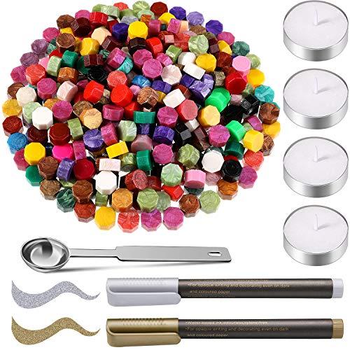 300 Stück Mischfarben Siegelwachs Perlen mit 4 Stück Teekerzen, 2 Stück Siegelstiften und Wachsschmelzlöffel zum Siegeln von Wachsstempeln