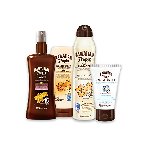 Hawaiian Tropic Pack Media Protección - Kit con Aceite Seco Bronceador Spray SPF 15 + Satin Ultra Radiance SPF 15 + Bruma Silk Hydration Air Soft SPF 30 + Sensitive Skin SPF 50