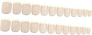 24Pcs 12 Different Size Natural French Short False Nails Full Cover Nails For Women And Girls