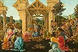 JH Lacrocon Sandro Botticelli - Adoración Magos Reproducción Cuadro sobre Lienzo Enrollado 120X80 cm - Pinturas Religioso Impresións Decoración Muro