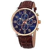 Akribos XXIV Essential Mens Casual Watch - Sunburst Effect Dial - Chronograph Quartz - Leather Strap - Blue Brown