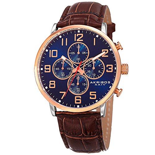 Akribos XXIV Essential Mens Casual Watch - Sunburst Effect Dial - Chronograph Quartz - Leather Strap - Blue Brown