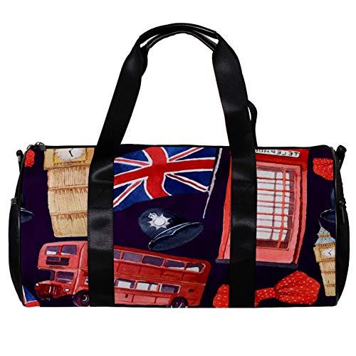 Borsone rotondo da palestra con tracolla staccabile acquerello modello London polka, casco poliziotto rosso autobus borsa da allenamento borsa per la notte per donne e uomini