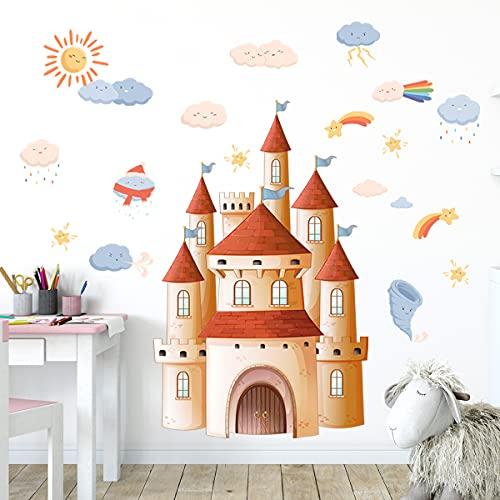 Zsz2885 Naranja Viento y lluvia Truenos y relámpagos Castillo preescolar Pegatinas de pared Habitación de los niños Sala de estar Dormitorio Fondo Decoración de la pared Pegatinas de pared