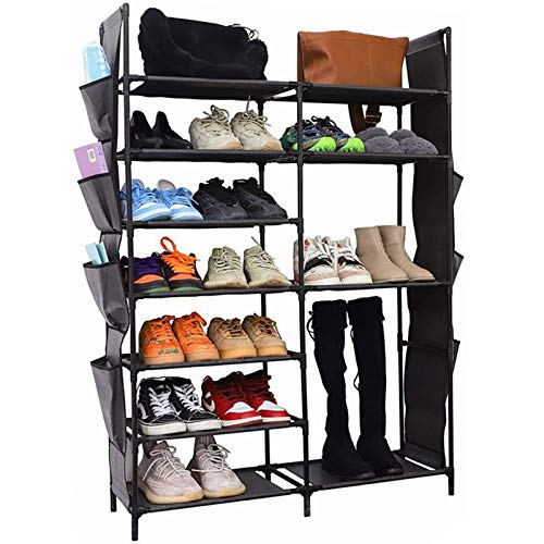 YCOCO 7 Tier Shoe Rack Storage OrganizerStackable Shoe Boots Organizer shelf with 2 pack Hanging storage bagfor EntrywayCloset and BedroomBlack