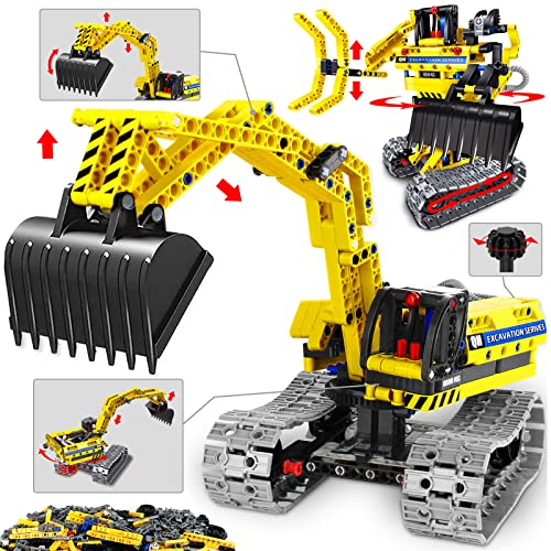 HISTOYE 2 in 1 Excavator or Robot Building Toys Kit Building Blocks Set for Kids 6-12 Erector Set for Boys Age 8-12 Engineering STEM Projects Building Toy Gift for 6 7 8 9 10 11 12 Year Old Boys Kids