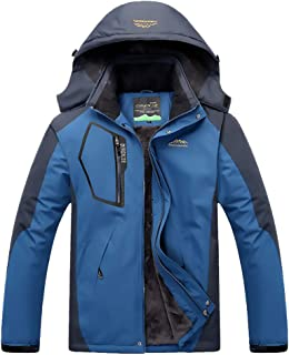 Men's Mountain Jacket Waterproof Ski Jacket Windproof Coat Warm Winter Snow Rain for Hiking Camping Outwear (Men_Cowboy Bl...