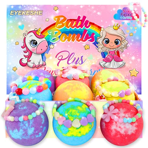 EYEKESHE Bath Bombs for Kids, Safe Natural Organic Shower Bombs Gift Set for Bubble Bath, Free Jewelry Bracelet Included, Best Gift for Girls Boys on Birthday Christmas Easter