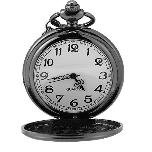 Reloj de bolsillo, reloj de bolsillo clásico de 3 colores con cadena para el día de Navidad para regalo para la novia en Halloween(Black smooth chain)