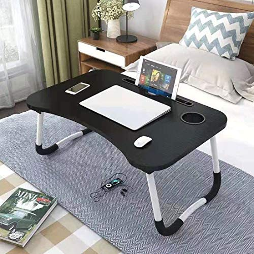 Dsrgwe Laptop Bed Table Lap Desk Notebook Stand Breakfast Tray with Foldable Legs and Cup Slot for Eating Breakfast on Bed/Couch/Sofa (Color : Black)
