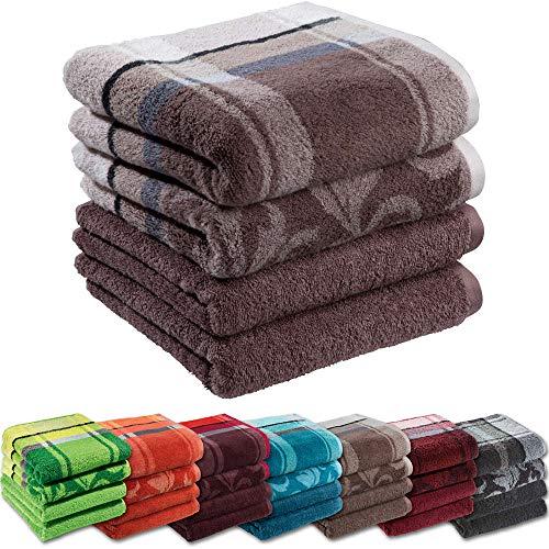 Erwin Müller Handtuch-Set 4er-Pack - 100% Baumwolle - braun Größe 50x100 cm - kuschelweich, saugstark, voluminös - praktisch durch beidseitige Schlaufen (weitere Farben)