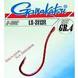 Gamakatsu Hook LS-3113R red - Angelhaken zum Aalangeln, Brandungsangeln, Haken für Würmer, Wurmhaken, Meereshaken für Naturköder, Größe/Packungsinhalt:Gr. 4/25 Stück