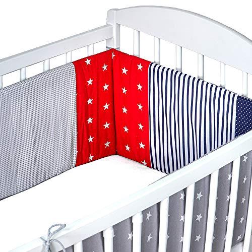 Baby Bettumrandung - Gitterbett UmrandungBettnestchenKinderbett 120x60 oder 140x70 (Rot mit Blau, grau mit weißen Sternen - patchwork, 210x30 cm)