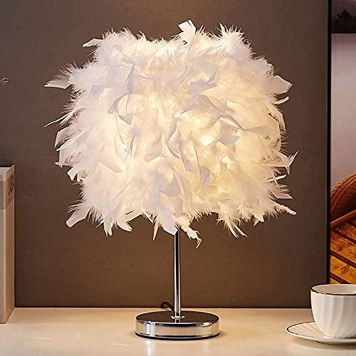 WOERD Lámpara de Noche Salón Moderna, Lámpara de Mesa de Plumas, Lámpara de Mesa con E27 LED Luz, Lámpara de Noche Decorativa Romántico para Dormitorio Sala de Estar Lectura Boda