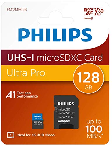 Philips Micro SDXC Karte 128GB, Class 10 UHS-I U3 4K, Adapter