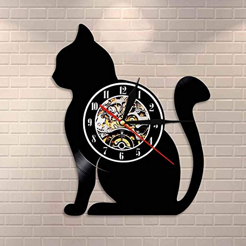 wtnhz LED-Sitting cat silhouette wall clock cat vinyl record clock unique cat gift for cat lovers home decoration vinyl record art
