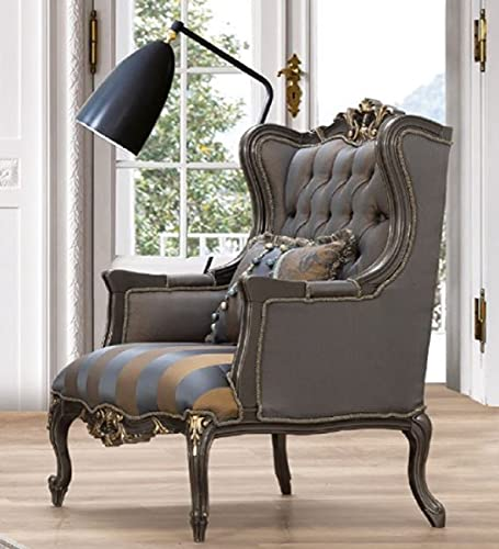 Casa Padrino sillón orejero Barroco de Lujo Azul/Gris/Oro 75 x 83 x A. 115 cm - Magnífico sillón de salón Hecho a Mano con cojín - Muebles de salón barrocos