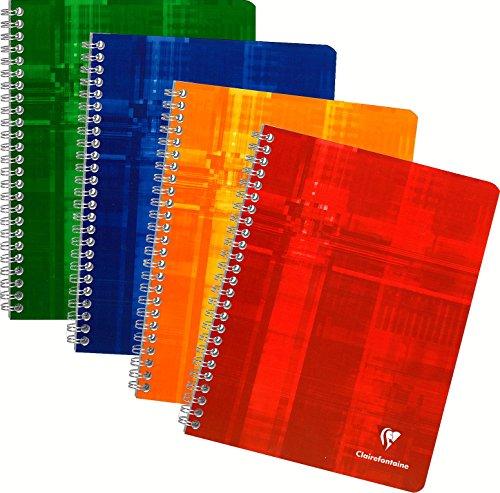 Clairefontaine 87244C - Quaderni a spirale, formato A5, a quadretti, 4 x 4 da 100 pagine, colori assortiti , 1 pezzo