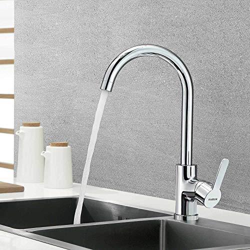 KAIBOR Chrom Küchenarmatur 360° schwenkbar Wasserhahn Küche, Mischbatterie Küche Einhebelmischer Armatur Spültischarmatur für Küche Spüle