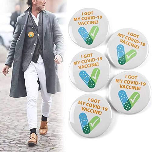 Xikangshun (5 Stück) Ich Habe Meine COVID-19-Impfstoffempfängerbenachrichtigung erhalten CDC-ermutigte öffentliche Gesundheit Pin-Back-Button-Abzeichen Runde Lucky Badge Button Pins broschen (Weiß)