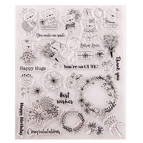 Welcome to Joyful 1PC Cute Bear Happy Hugs Flower Clear Stamp for Card Making Decoration and Scrapbooking 15.5x20cm
