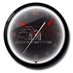Corvette C6 Black Genuine Vette Emblem Neon Wall Clock 20 Made In USA, 110V Electric, Aluminum Spun Case, Powder Coated Finish, Glass Face, Brass Movement, Pull Chain, 1 Year Warranty