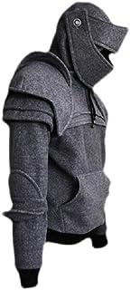 FSSE Men Hoodies Plus Size Armor Costume Medieval Knight Hoodie Sweatshirt