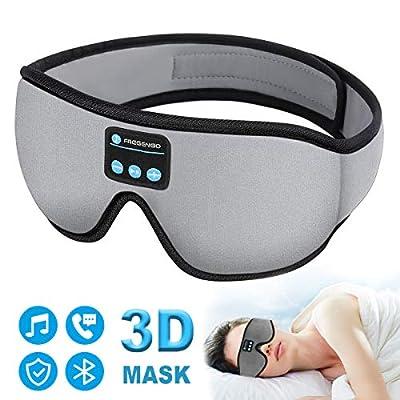 Sleep Headphones Bluetooth Eye Mask, 20-28 inches Adjustable FREGENBO Music 3D Sleep Mask 2020 Upgraded, Wireless Sleeping Headphones for Side Sleepers, HandsFree for Meditation Insomnia Airplane by FREGENBO